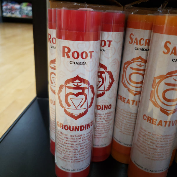 Chakra Scented Pillar Candles- Root 7""