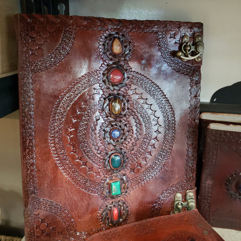 Seven Chakra Stone Embossed Handmade Book of Shadows