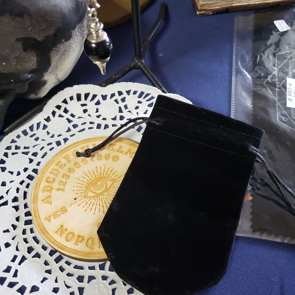 Black Velvet Pendulum Pouch with drawstring - Tree Of Life Shoppe