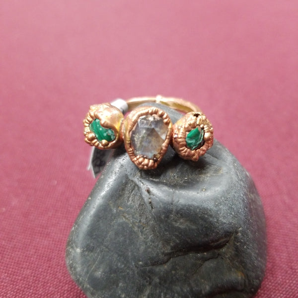 Hand Crafted Pure Copper Gemstone Rings - 3 Stones