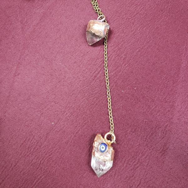 Handcrafted Quartz Points Copper Pendulum with Evil Eye - Tree Of Life Shoppe
