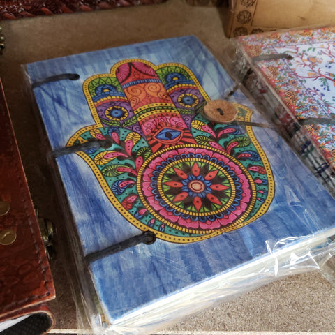 "Hamsa Journal 5"" x 7"" Handmade Parchment - Various colors"