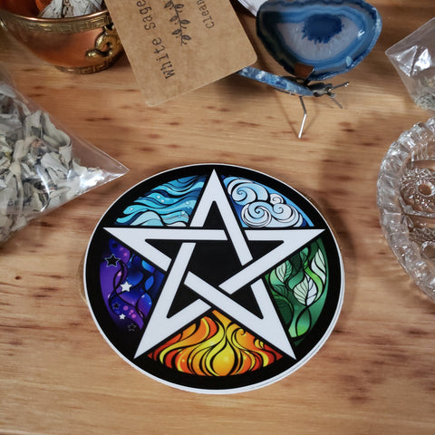 Elemental Pentagram Sticker - Tree Of Life Shoppe