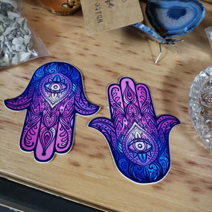 Hamsa Hand Purple / Blue Sticker - Tree Of Life Shoppe