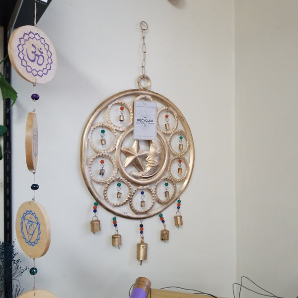 RECYCLED CIRCULAR MOON AND STAR CHIME