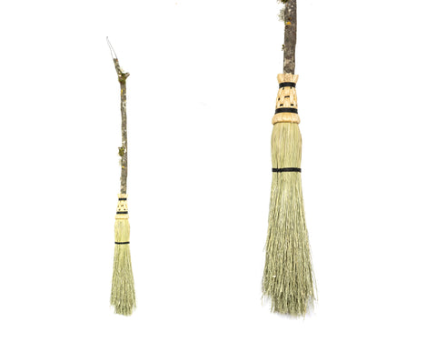 Hand Crafted Natural Besom with Wooden Handle 36 inches