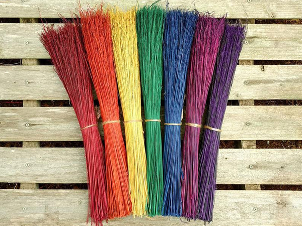 Hand Crafted Rainbow Besom with Wooden Handle 36 inches - Tree Of Life Shoppe