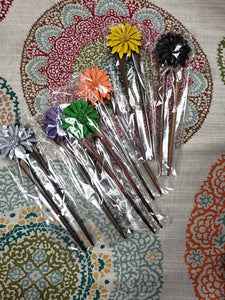 Leather Flower Wooden Double Hair Sticks - Tree Of Life Shoppe