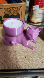 Resting Cat  - Tea light and Piller Candle Holder