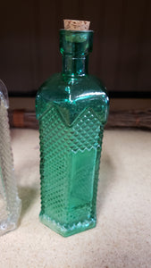 Painted Glass Bottle with Cork Stopper - Crystal Cut Style
