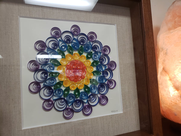 Handcrafted Mandala Quill Art & Shadow Box