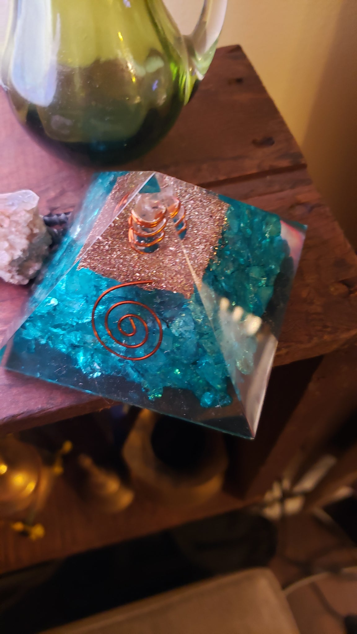 Aquamarine Crystal Orgone Pyramid - Tree Of Life Shoppe
