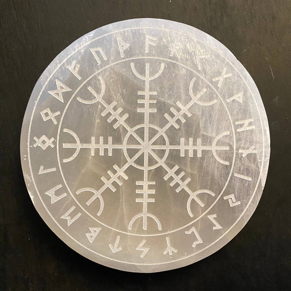 Engraved Selenite Disc Helm of Awe - Tree Of Life Shoppe