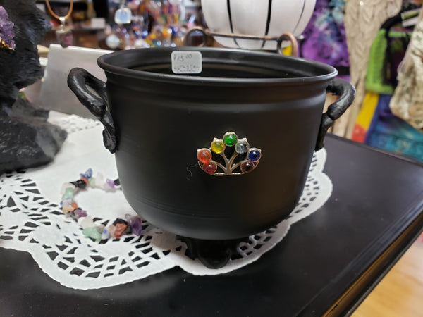 Lotus & Chakra Metal Cauldron with Sand - Tree Of Life Shoppe