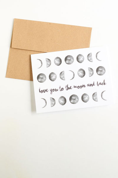 Love you to the moon and back, greeting card - Tree Of Life Shoppe