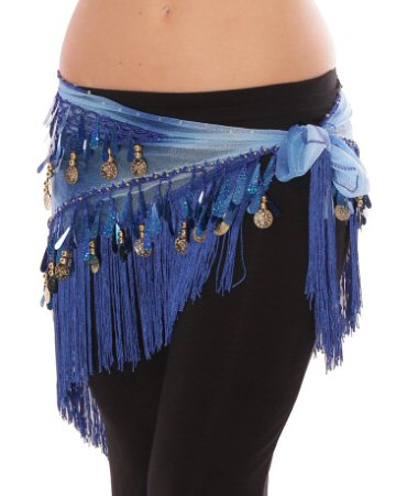 Tie-Dye Triangle Hip Scarf with Teardrop Paillettes, Fringe, & Coins - BLUE - Tree Of Life Shoppe