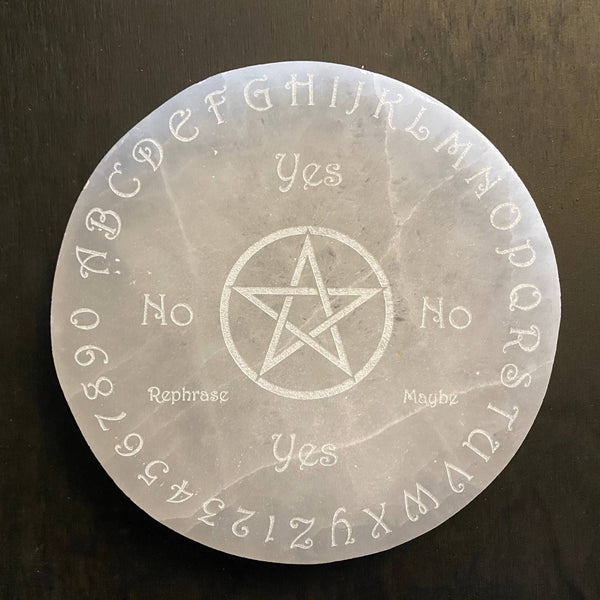 Engraved Selenite Disc Pendulum Board - Tree Of Life Shoppe