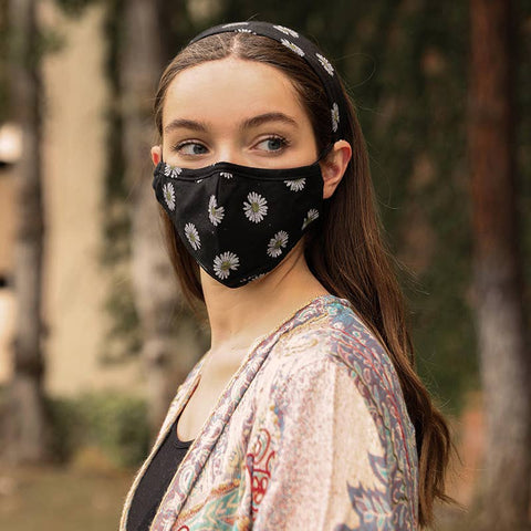Floral Bandana Print Headband and Face Mask Set