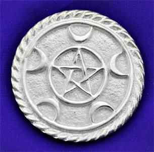 Triple Moon Pentacle Metal Altar Tile - Tree Of Life Shoppe