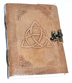 Triquetra Blonde Leather Journal with Latch 5 x 7 - Tree Of Life Shoppe