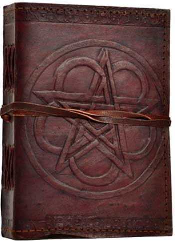 Pentagram leather blank book w/ cord 5 x 7