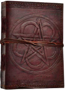Pentagram leather blank book w/ cord 5 x 7 - Tree Of Life Shoppe