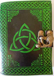 Triquetra (Black and Green) leather blank book w/ latch 5 x 7 - Tree Of Life Shoppe