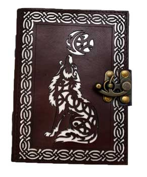 Celtic Wolf leather blank book w/ latch 5 x 7 - Tree Of Life Shoppe