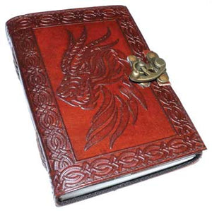 Celtic Dragon leather blank book w/ latch