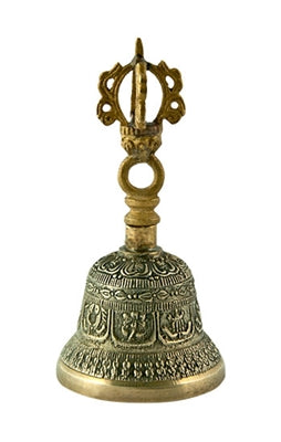 "Bronze Tibetan Bell with 8 Auspicious Sign Carved - 4.25""H - Tree Of Life Shoppe"