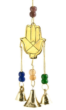 "Hand of Fatima Brass Chime with Beads - 9""L"