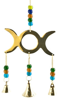 "Triple Moon Brass Chime with Beads - 9""L"