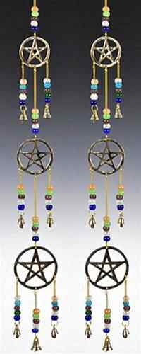 "Three Pentacle  Brass Chime with Beads - 25""L"