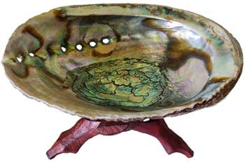 "5""- 6"" Abalone Shell Incense Burner With Wooden Stand"