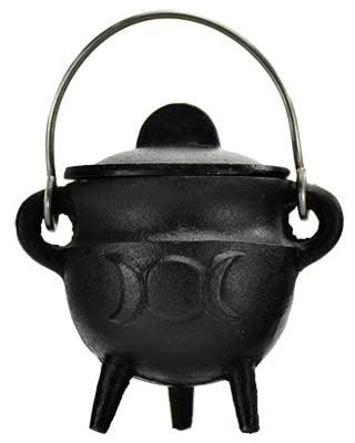 "Triple Moon Cast Iron Cauldron w/ lid 2 3/4"" - Tree Of Life Shoppe"