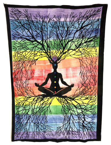 Indian Cotton Tapestry 7 Chakra Roots (135 x 220 cm) - Tree Of Life Shoppe