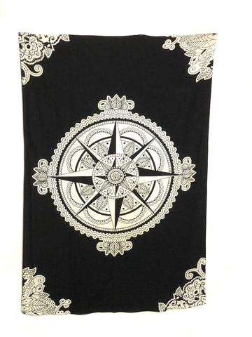 Indian Cotton Tapestry Compass Black & White (135 x 220 cm) - Tree Of Life Shoppe