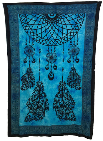 Indian Cotton Tapestry Dream Catcher Blue - Tree Of Life Shoppe