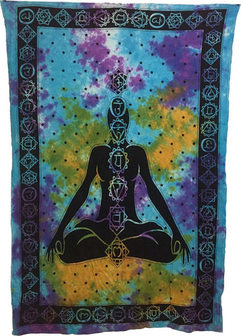 Indian Cotton Tapestry Tie & Dye 7 Chakra (135 x 220 cm) - Tree Of Life Shoppe