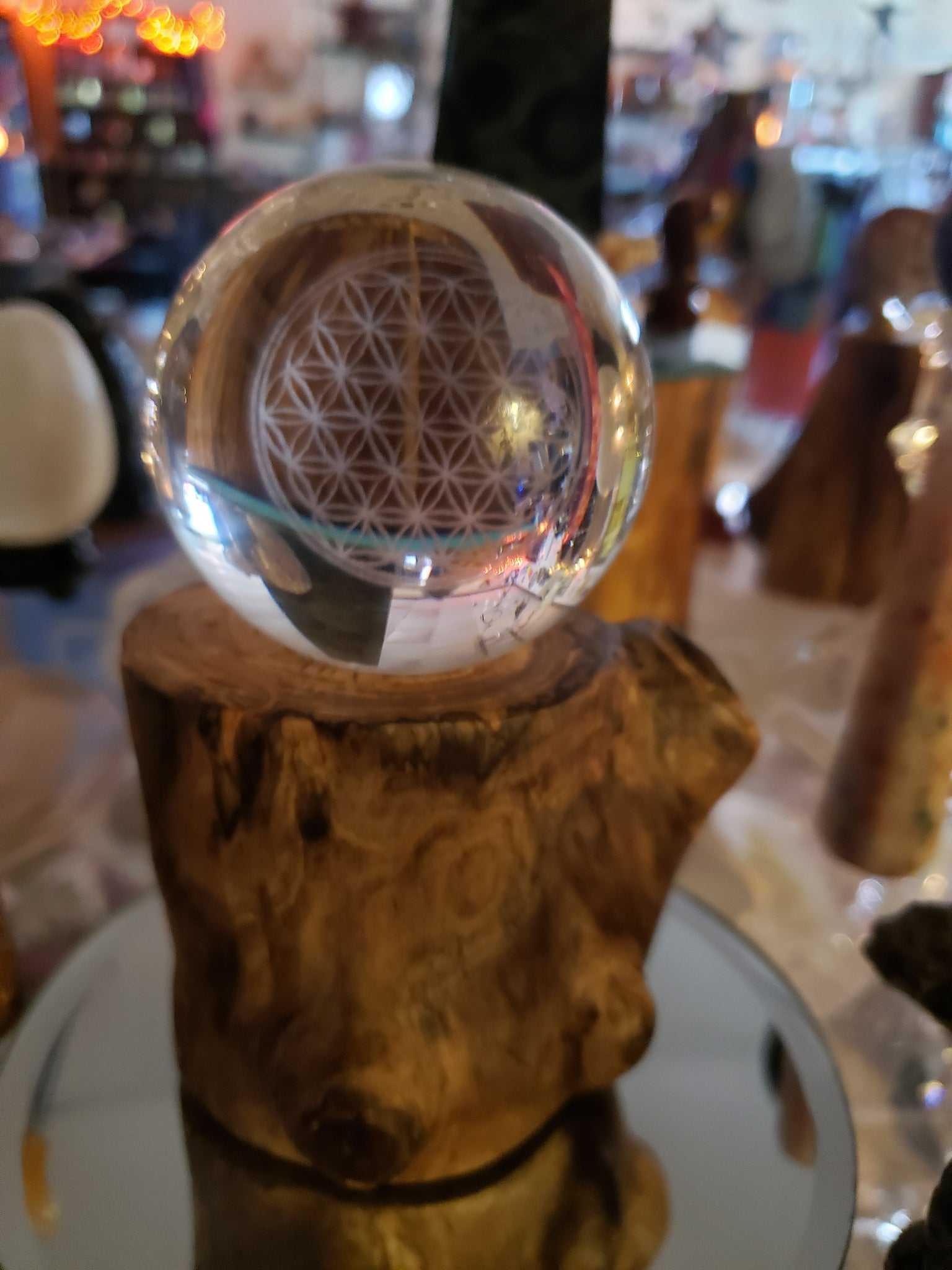 Seed of Life Crystal Ball and Reclaimed Wood Stand - Tree Of Life Shoppe