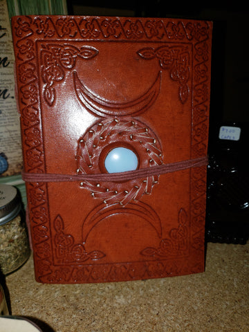 Triple Moon with Stone Embossed Leather Journal w/ cord - Tree Of Life Shoppe