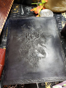 Wire Cross and Rose Hand Crafted Leather Journal - Tree Of Life Shoppe