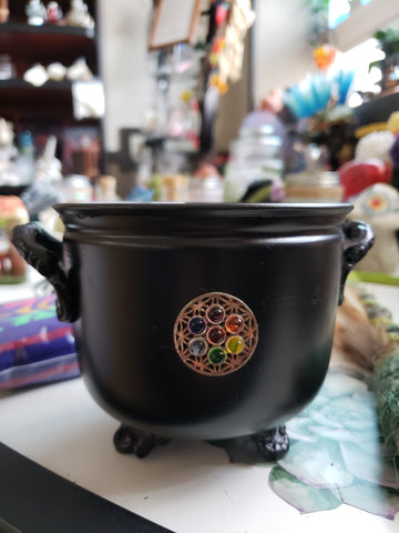 Seed of Life and Chakra Metal Cauldron with Sand
