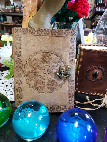 Chakra Embossed Leather Journal With Latch - Tree Of Life Shoppe