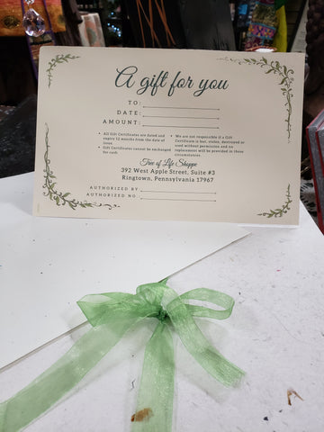 Gift Certificate - Tree Of Life Shoppe