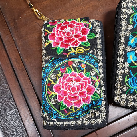 Rose Embroidery Clutch Wallet / Purse - Tree Of Life Shoppe