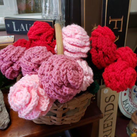 Hand Crafted Crotchet Roses and Pen Roses - Made Locally - Tree Of Life Shoppe