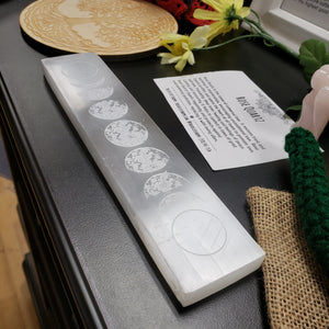 Selenite Platform Engraved Moon Phase - Tree Of Life Shoppe