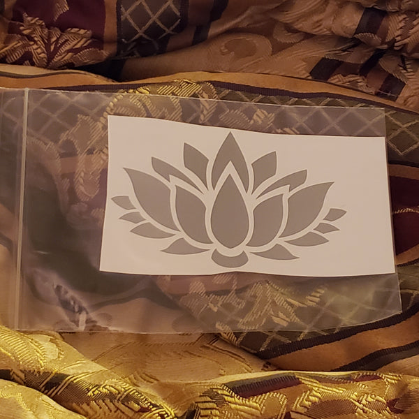 Silver Lotus Flower Sticker / Decal 4 inch - Tree Of Life Shoppe