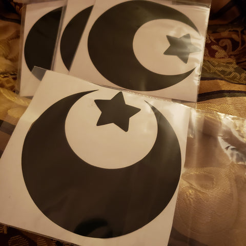 Black Moon & Star Vinyl Sticker / Decal 4 inch